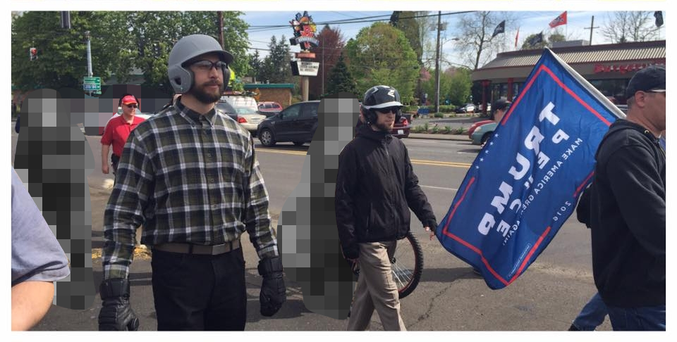 neo-nazi David Woods at Joey Gibson's Montavilla march.